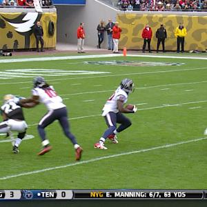 Jacksonville Jaguars stop Houston Texans wide receiver Andre Johnson for a loss