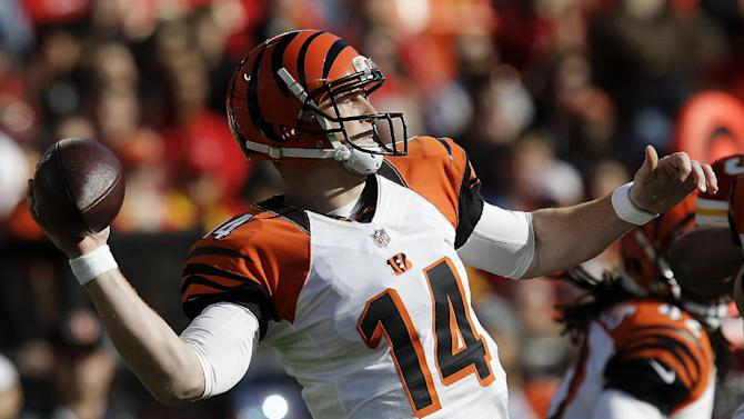 Cincinnati Bengals quarterback Andy Dalton throws during the first half of an NFL football game against the Kansas City Chiefs, Sunday, Nov. 18, 2012, in Kansas City, Mo. (AP Photo/Chris Ochsner)
