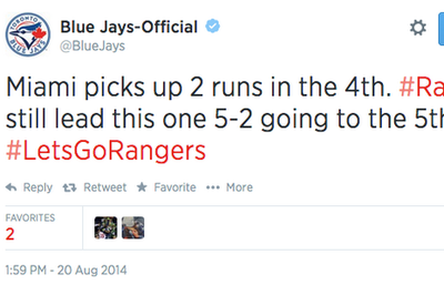 Blue Jays' official Twitter account thinks they're the Rangers