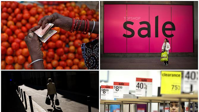 This combination of Associated Press file photos from 2012-2013 shows from top left, a vegetable vendor counting rupees at a market in Allahabad, India, a shopper standing by a sale sign in London, a woman carrying bags with food in Barcelona, and a shopper browsing at a Sears store in Henderson, Nevada. An Associated Press analysis of households in the 10 biggest economies released on Oct. 6, 2013, shows that families continue to spend cautiously in the five years since the U.S. investment bank Lehman Brothers collapsed, triggering a global financial crisis. (AP Photo/File)