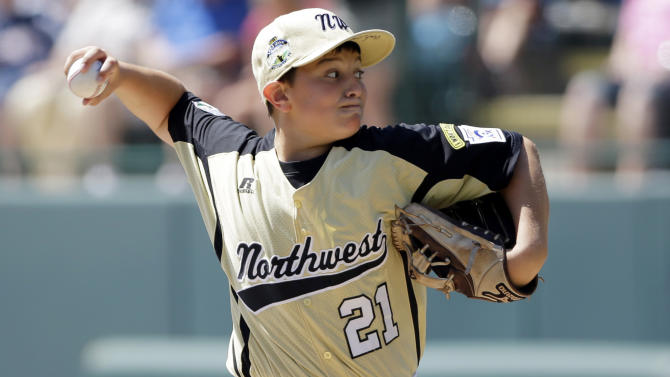 Gresham, Ore.'s Greg Mehlhaff pitches in the first inning of a consolation baseball game against Lugazi, Uganda, at the Little League World Series, Tuesday, Aug. 21, 2012, in South Williamsport, Pa. Uganda won 3-2. (AP Photo/Matt Slocum)