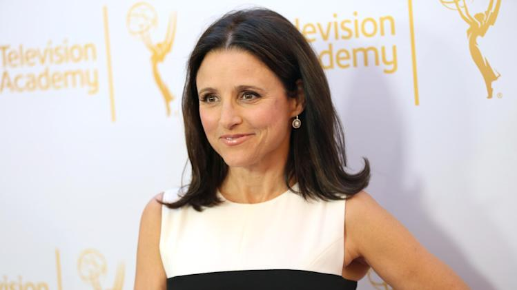 Julia Louis-Dreyfus arrives at the Television Academy's 66th Emmy Awards Performers Peer Group Celebration at the Montage Beverly Hills on Monday, July 28, 2014, in Beverly Hills, Calif. (Photo by Matt Sayles/Invision for the Television Academy/AP Images)