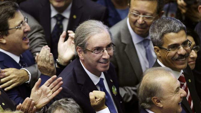 Candidate for the President of the Chamber of Deputies, Deputy Eduardo Cunha reacts during the inauguration session in the plenary of the House of Representatives in Brasilia