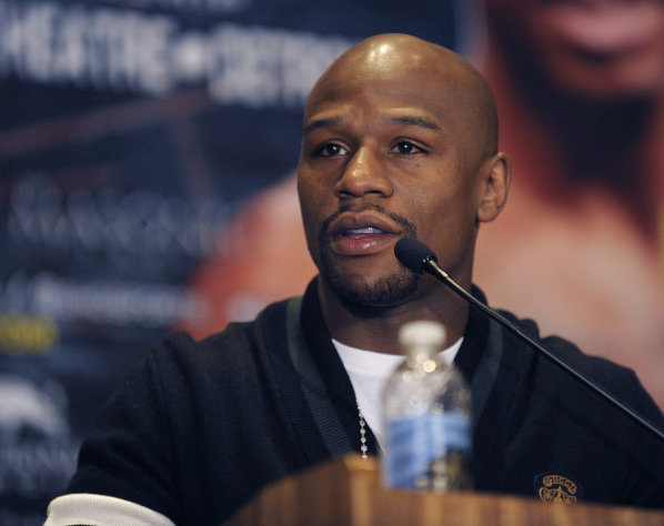 Floyd Mayweather Jr. speaks during a news conference Thursday, Feb. 21, 2013, in Detroit. Mayweather said he is excited about both a weekend fight he's promoting as well as his lucrative new deal with Showtime. Mayweather, who was in Detroit for a news conference ahead of Saturday's junior middleweight title bout between Cornelius Bundrage and Ishe Smith, likened his Showtime agreement to a matrimonial modification. (AP Photo/The Detroit News, Clarence Tabb Jr.) DETROIT FREE PRESS OUT HUFFINGTON POST OUT MAGS OUT