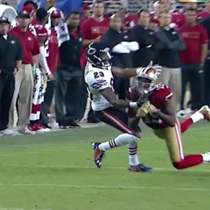 San Francisco 49ers quarterback Colin Kaepernick intercepted by Chicago Bears cornerback Kyle Fuller