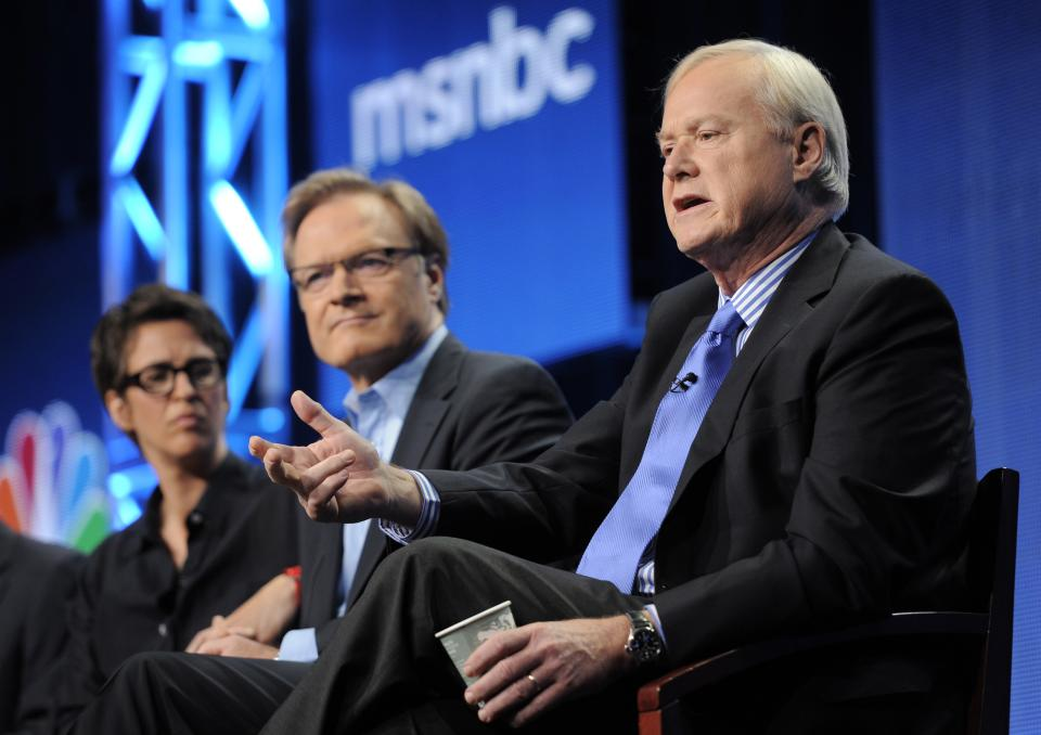 "Chris Matthews, right, host of ""Hardball"" on MSNBC, answers a question as fellow MSNBC hosts Lawrence O'Donnell, center, and Rachel Maddow look on at the NBC Universal summer press tour, Tuesday, Aug. 2, 2011, in Beverly Hills, Calif. (AP Photo/Chris Pizzello)"
