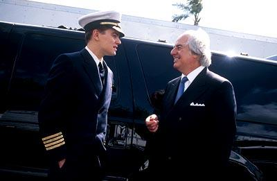 Leonardo DiCaprio and the real Frank W. Abagnale Jr. on the set of Dreamworks' Catch Me If You Can