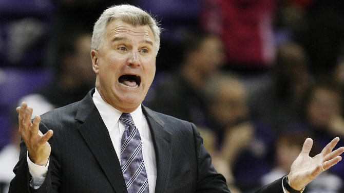 Kansas State head coach Bruce Weber calls out a play during the second half of an NCAA college basketball game against TCU, Wednesday, Jan. 16, 2013, in Fort Worth, Texas. Kansas State won 67-54. (AP Photo/Brandon Wade)