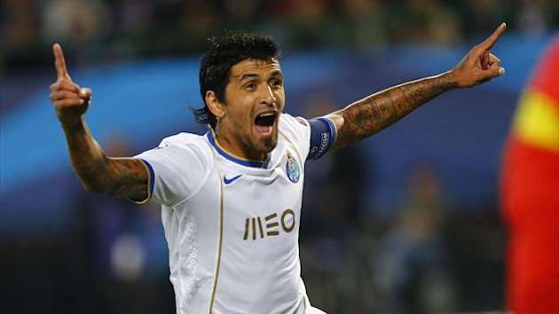 Porto's Lucho Gonzalez celebrates after scoring against Austria Vienna (Reuters)