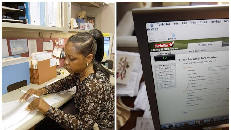 This combination of Associated Press file photos shows, left, Tori Stinson at Meadowbrook Insurance Company checking a client's paperwork  in 2004 in Southfield, Mich., and right,  the TurboTax online tax computer program is displayed on a computer in Palo Alto, Calif., in 2008.  The number of bookkeeping, accounting and auditing clerks fell from 1.7 million to 1.3 million in the U.S in ten years through 2010. (AP Photo)