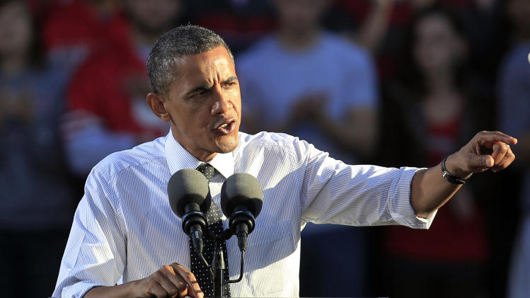 President Barack Obama speaks during a campaign event at The Ohio State University Oval Tuesday, Oct. 9, 2012, in Columbus, Ohio. (AP Photo/Tony Dejak)