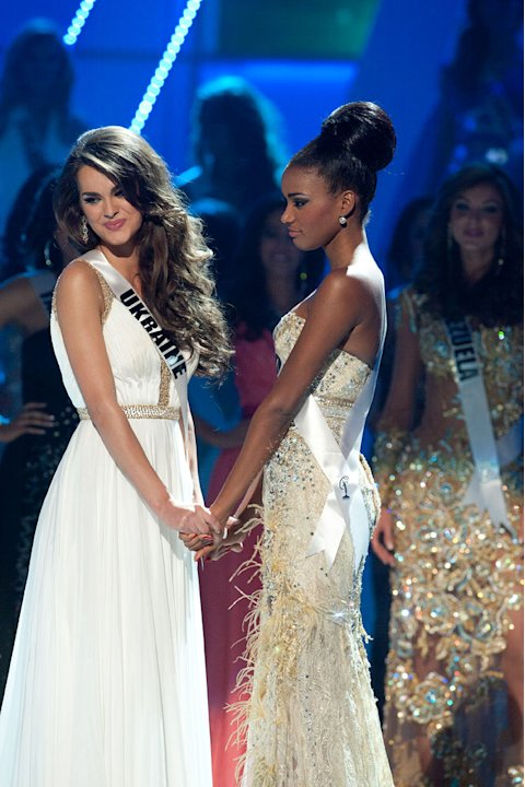 "The top two finalists Miss Ukraine 2011, Olesia Stefanko; and Miss Angola 2011, Leila Lopes anxiously await the announcement of who will be crowned 2011 Miss Universe® during the ""60th Annual Miss Uni"