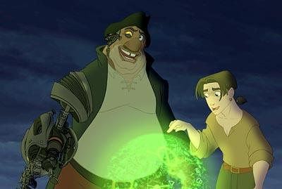 Brian Murray as John Silver and Joseph Gordon Levitt as Jim Hawkins in Disney's Treasure Planet