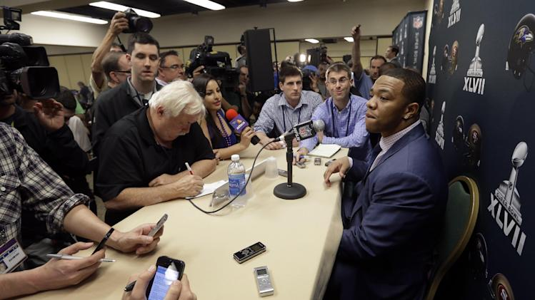 Baltimore Ravens running back Ray Rice, right, speaks at an NFL Super Bowl XLVII football news conference on Monday, Jan. 28, 2013, in New Orleans. The Ravens face the San Francisco 49ers in Super Bowl XLVII on Sunday, Feb. 3. (AP Photo/Patrick Semansky)