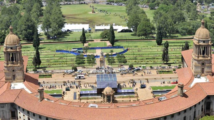 GCIS handout shows general view of the Union Buildings where former South African President Mandela is lying in state for the second day in Pretoria