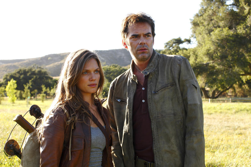 "This image released by NBC shows Tracy Spiridakos as Charlie Matheson, left, and Billy Burke as Miles Matheson from the new series ""Revolution,"" premiering Sept. 17 at 10 p.m. EST on NBC. (AP Photo/NBC, Trae Patton)"