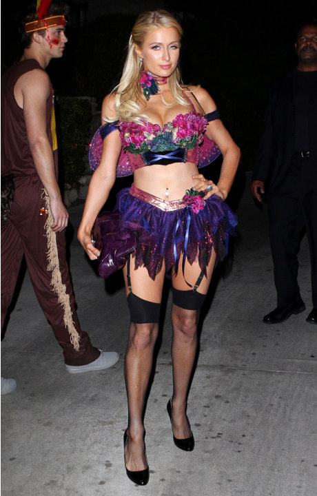 Paris Hilton rocking the type of Halloween costume that only she can pull off. Copyright [Splash]
