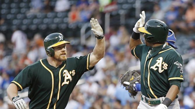 Cespedes, Moss send Mills and A's past Mets 8-5