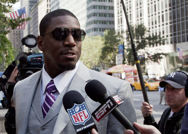FILE - New Orleans Saints linebacker Jonathan Vilma arrives at the National Football League&#39;s headquarters, in this June 18, 2012 file photo taken in New York. Vilma is suing the NFL in federal court, claiming Commissioner Roger Goodell failed to make a timely appeal ruling regarding Vilma&#39;s season-long suspension in connection with the league&#39;s bounty investigation. The lawsuit filed Saturday night June 30, 2012 in U.S. District Court in New Orleans also asks for a temporary restraining order to allow Vilma to continue working if Goodell upholds the suspension. It is the second lawsuit Vilma has filed in the matter. (AP Photo/Mark Lennihan, File)