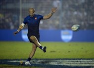 France's fly half Frederic Michalak scores a conversion. France crushed Argentina 49-10 in the second Test on Saturday to record their biggest ever win over the Pumas