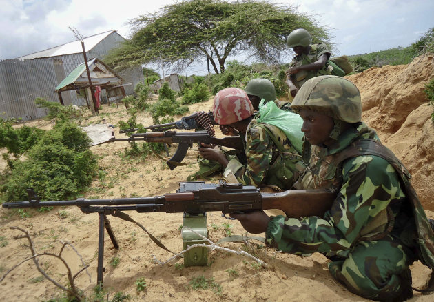 African Union peacekeepers are seen in the Deynile district of the capital Mogadishu, Somalia Thursday, Oct. 20, 2011. In the Somali capital Thursday, al-Shabab was chased out of the northernmost neighborhood of Deynile in a dawn offensive by Somali government troops and African Union peacekeepers who took control of the area, which the Islamist insurgency used as an execution ground and as an area for carrying out amputations, residents said. (AP Photo/Ali Bashi)