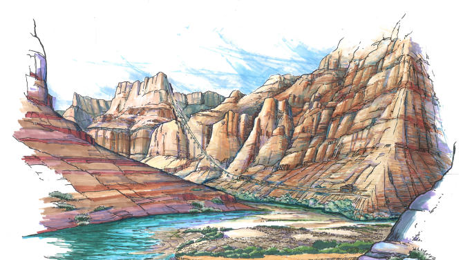This artist rendering depicts a proposed aerial tramway that would ferry tourists from the cliff tops of the east rim of the Grand Canyon to the water's edge of the Colorado and Little Colorado Rivers below. The plan by the Navajo government is drawing opposition from the National Park Service, environmental groups and even some traditional Navajo herdsmen in the area.  (AP Photo/Confluence Partners, LLC/HO)