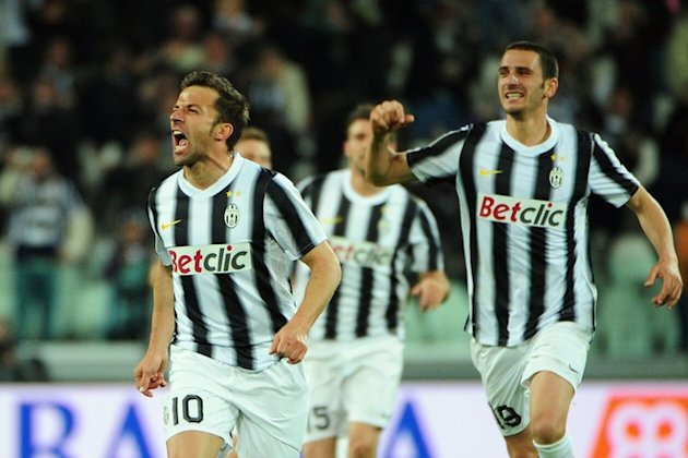 Juventus' Forward Alessandro Del Piero (L) Celebrates AFP/Getty Images