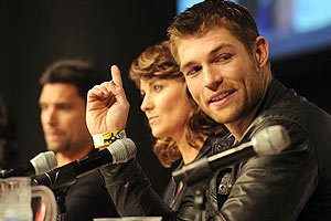 "New star Liam McIntyre (right) at the ""Spartacus"" panel"