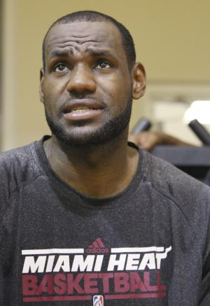 Miami Heat forward LeBron James speaks during an interview after NBA basketball training camp, Tuesday, Oct. 2, 2012 in Miami.  (AP Photo/Wilfredo Lee)