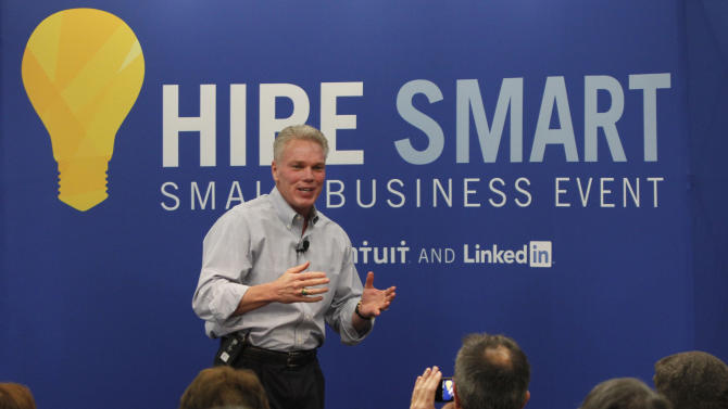 Intuit CEO Brad Smith speaks to attendees at the company's first ever Hire Smart Small Business Event on Saturday, April, 27, 2013 in Mountain View, Calif. The event offered small business owners free resources and expert advice for hiring employees. (Photo by George Nikitin/Invision for Intuit/AP Images)