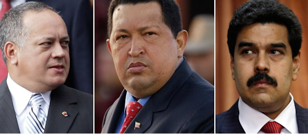 FILE - This combo of three file photographs shows, Venezuela's National Assembly President Diosdado Cabello, left, President Hugo Chavez and Vice President Nicolas Maduro. Chavez is due to be sworn in