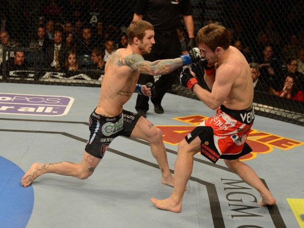 LAS VEGAS, NV - DECEMBER 29: (L-R) Eddie Wineland versus Brad Pickett during their bantamweight fight at UFC 155 on December 29, 2012 at MGM Grand Garden Arena in Las Vegas, Nevada. (Photo by Josh Hedges/Zuffa LLC/Zuffa LLC via Getty Images)