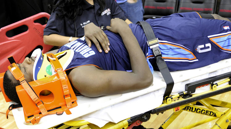 Charlotte Bobcats' Michael Kidd-Gilchrist is wheeled off the floor after a hard fall in the second half of an NBA basketball game against the Houston Rockets, Saturday, Feb. 2, 2013, in Houston. (AP Photo/Pat Sullivan)