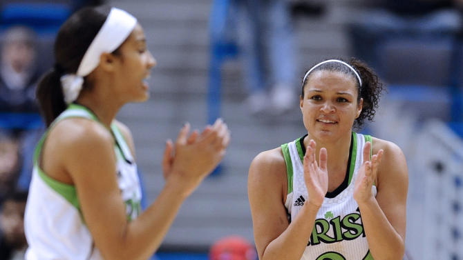 Notre Dame's Skylar Diggins and Kayla McBride react in the second half of an NCAA college basketball game against Louisville in the semifinals of the Big East Conference women's tournament in Hartford, Conn., Monday, March 11, 2013. Notre Dame won 83-59. (AP Photo/Jessica Hill)