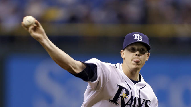 Tampa Bay Rays starting pitcher Jeremy Hellickson delivers to the Baltimore Orioles during the first inning of a baseball game Wednesday, Oct. 3, 2012, in St. Petersburg, Fla. (AP Photo/Chris O'Meara)