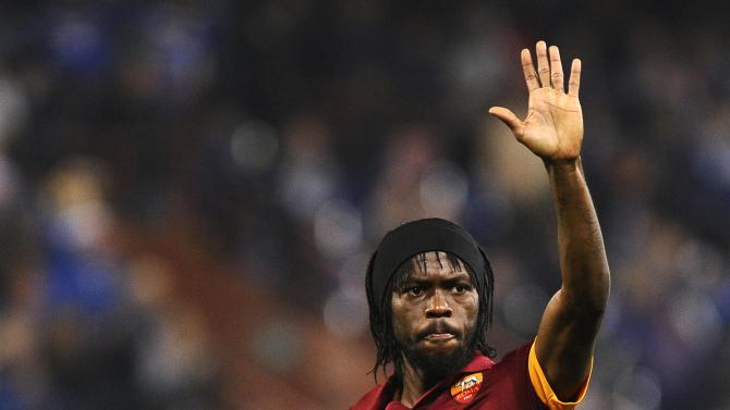 AS Roma's Lombe Yao Gervinho reacts at the end of their Italian Serie A soccer match against Sampdoria in Genoa