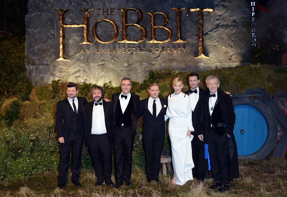 "From left, Andy Serkis, Peter Jackson, James Nesbitt, Martin Freeman, Cate Blanchett, Richard Armitage and Ian McKellan at the UK premiere of ""The Hobbit: An Unexpected Journey"" at The Odeon Leicester Square,London on Wednesday, Dec. 12, 2012. (Photo by Jon Furniss/Invision/AP)"