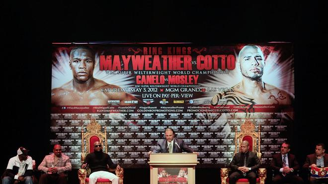 Floyd Mayweather (3rd L) And Miguel Cotto (3rd R) Attend A Press Getty Images