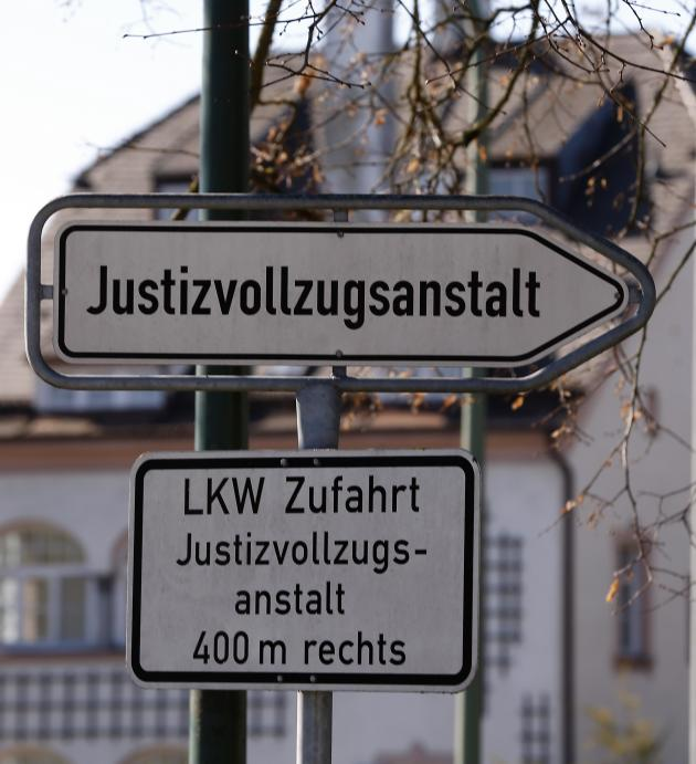 Sign shows direction to Landsberg County jail where former Bayern Munich President Hoeness is expected to serve his prison sentence in Landsberg am Lech