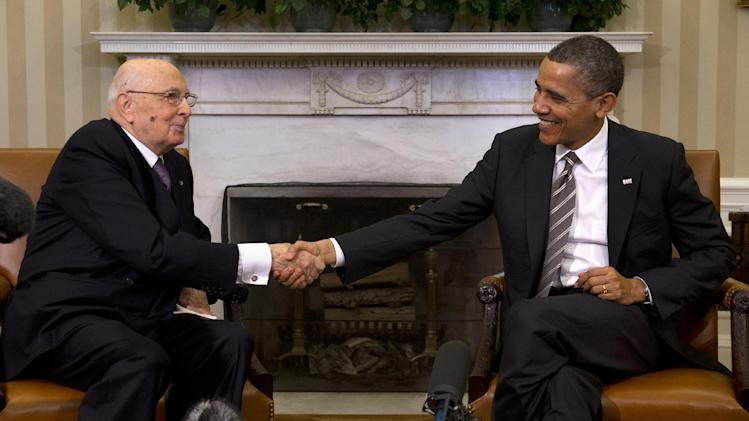 President Barack Obama shakes hands with Italian President Giorgio Napolitano during their meeting in the Oval Office of the White House, in Washington, Friday, Feb. 15, 2013. (AP Photo/Jacquelyn Martin)
