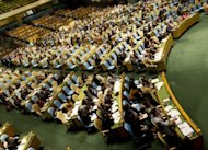 Delegates vote during the United Nations General Assembly meeting on Syria