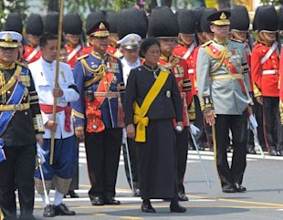 Thai Princess Maha Chakri Sirindhorn (C) parade during the royal cremation of Thai Princess Bejaratana Rajasuda Sirisobhabannavadi at Sanam Luang in Bangkok on April 9, 2012. Thai Princess Bejaratana, the first cousin of Thai King Bhumibol Adulyadej, was admitted to Bangkok's Siriraj Hospital on July 13 for bloodstream infection and passed away on July 27, 2011 after her condition worsened