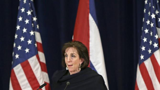 Roberta Jacobson appears at a news conference during talks between the U.S. and Cuba at the State Department in Washington