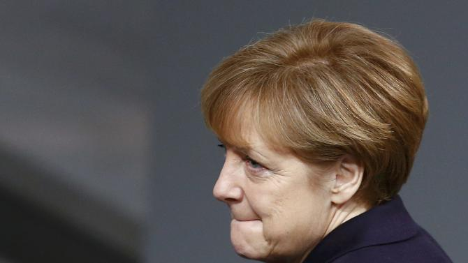 German Chancellor Merkel attends a session of the lower house of parliament Bundestag in Berlin