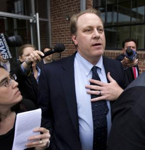"FILE - In this Wednesday, May 16, 2012, file photo, former Boston Red Sox pitcher Curt Schilling, center, is followed by members of the media as he departs the Rhode Island Economic Development Corporation headquarters, in Providence, R.I. Schilling says the collapse of his 38 Studios video game company has probably cost him his entire baseball fortune, and he put part of the blame on Rhode Island Gov. Lincoln Chafee. Schilling said during an interview on WEEI-FM in Providence Friday, June 22, 2012, that he put more than $50 million of his own money in the company and that the money he made playing baseball is ""probably all gone."" (AP Photo/Steven Senne, File)"