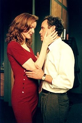 "Myra Robbins, (guest star Marcia Cross, L) a defendant on trial for pressuring her assistant to have sex with him, is represented by John Cage (Peter MacNicol, R) in the ""Girls Night Out"" episode of A"