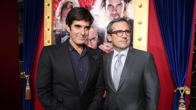 David Copperfield and Steve Carell at New Line Cinema's World Premiere of 'The Incredible Burt Wonderstone' held at Grauman's Chinese Theatre on Monday, Mar., 11, 2013 in Los Angeles. (Photo by Eric Charbonneau/Invision for New Line Cinema/AP Images)