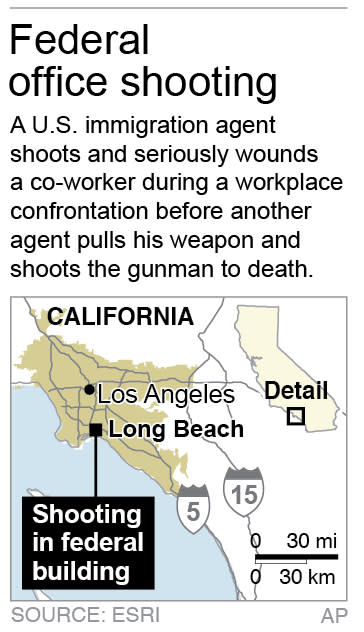 Map locates Long Beach, California, where a federal immigration agent who shot and injured a colleague in their office is killed by a third federal agent.