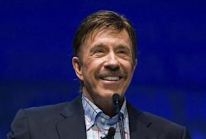 Actor Chuck Norris speaks during the National Rifle Association's 139th annual meeting in Charlotte