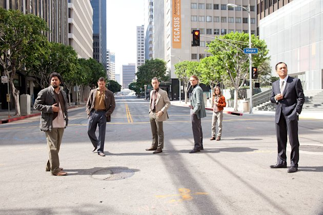 Inception Warner Bros. Pictures 2010 Production Photos Dileep Rao Tom Hardy Joseph Gordon Levitt Leonardo DiCaprio Ellen Page Ken Watanabe
